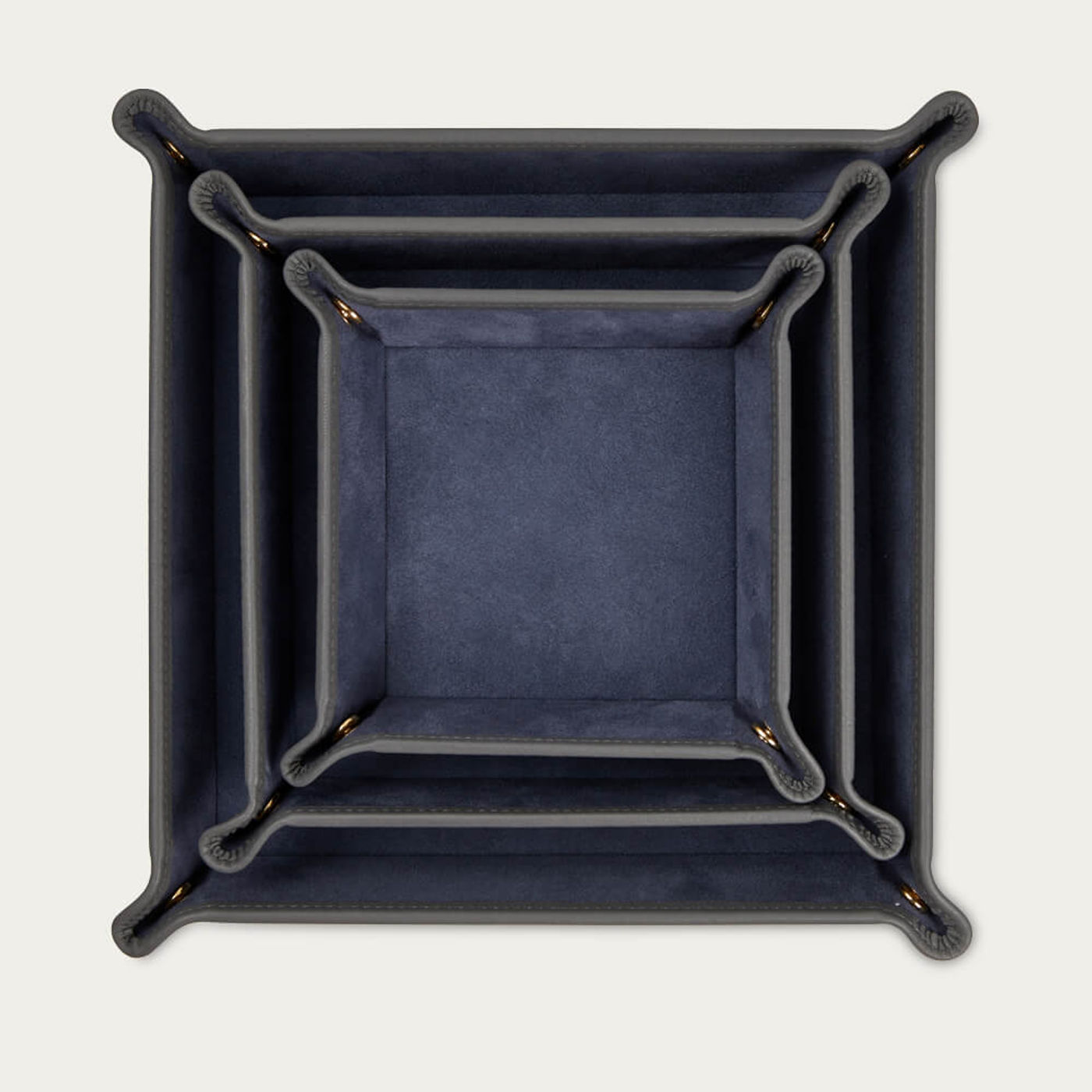 Quiet Shade & Blue Jeans Leather Valet Tray Gift Set | Bombinate