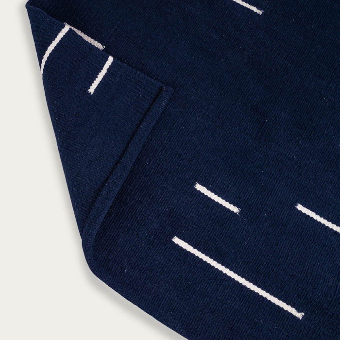 Navy Blue and Ivory Jamakhan Line Handwoven Rug | Bombinate