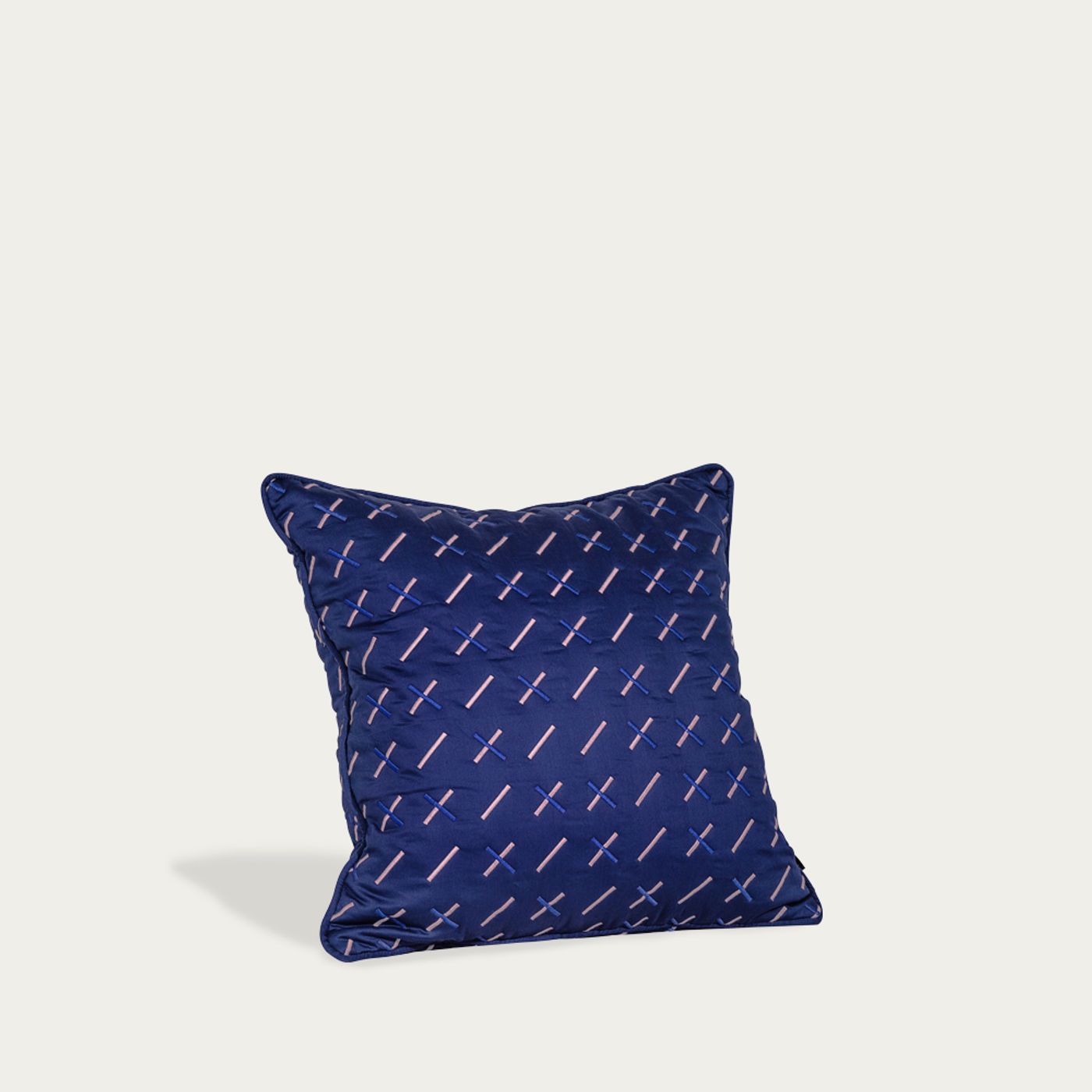Navy Kantha Stitch 1 Quilted Cushion | Bombinate