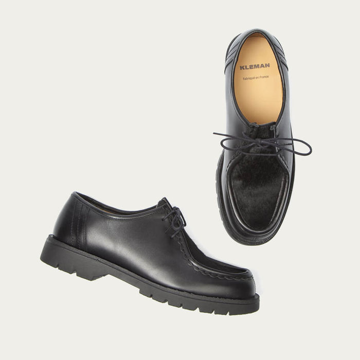Black Padrini Leather Tyrolean Shoes with Hairy Vamp | Bombinate
