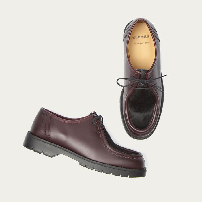 Burgundy Padrini Leather Tyrolean Shoes with Hairy Vamp | Bombinate