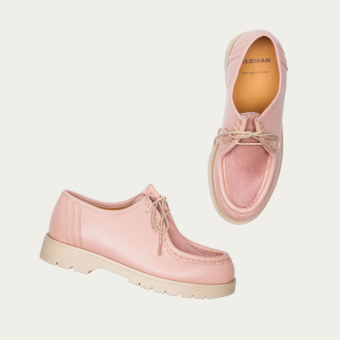 Pink Padrini Leather Tyrolean Shoes with Hairy Vamp | Bombinate