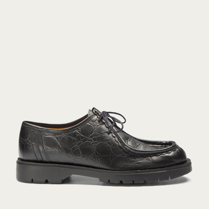Black Croc Padror C Leather Tyrolean Shoes | Bombinate