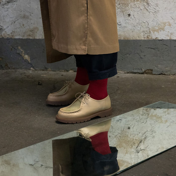 Beige Padrini Leather Tyrolean Shoes with Hairy Vamp | Bombinate
