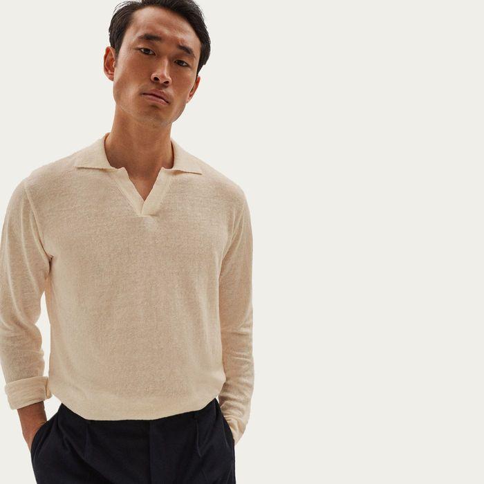 Beige Long Sleeve Linen Polo | Bombinate