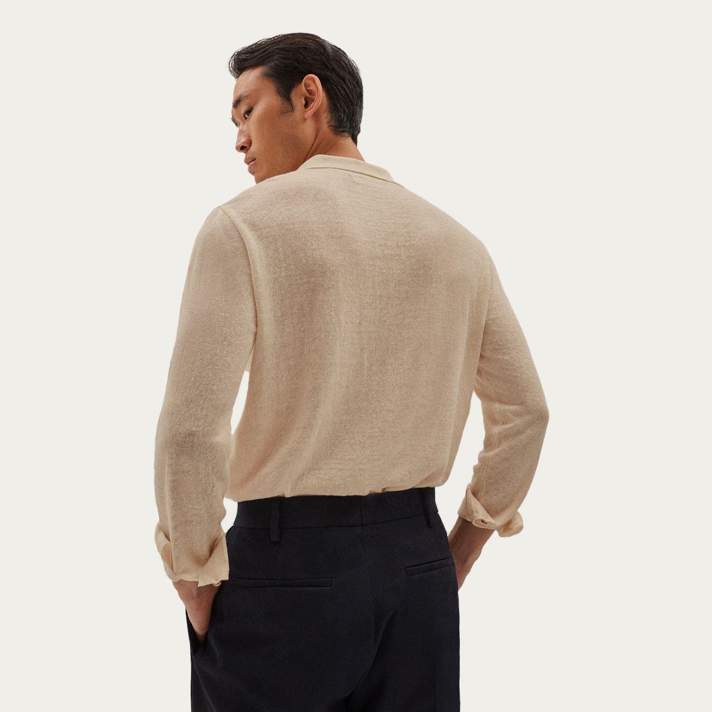 Beige Long Sleeve Linen Polo   Bombinate