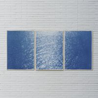 Splendorous Amalfi Coast Handmade Cyanotype Art Print   Bombinate