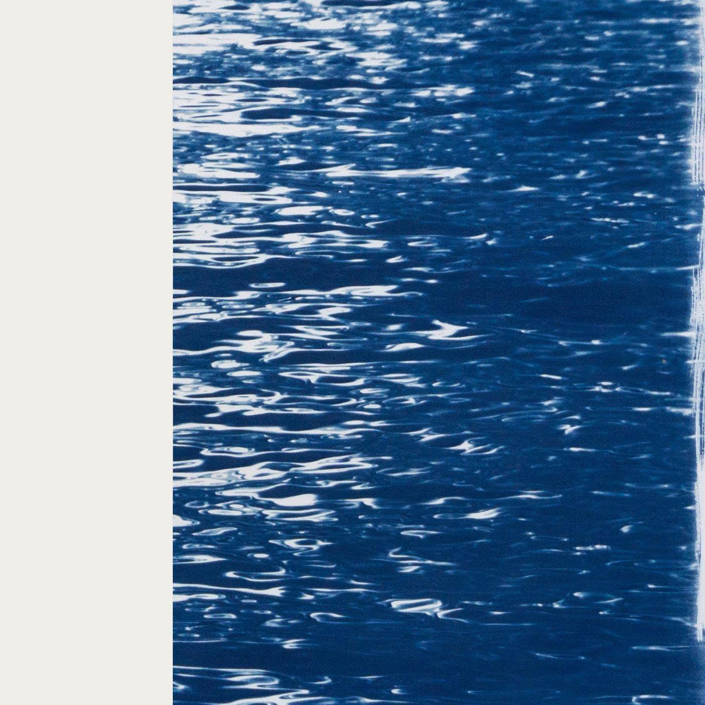 Moonlight Ripples over Lake Como Handmade Cyanotype Art Print | Bombinate