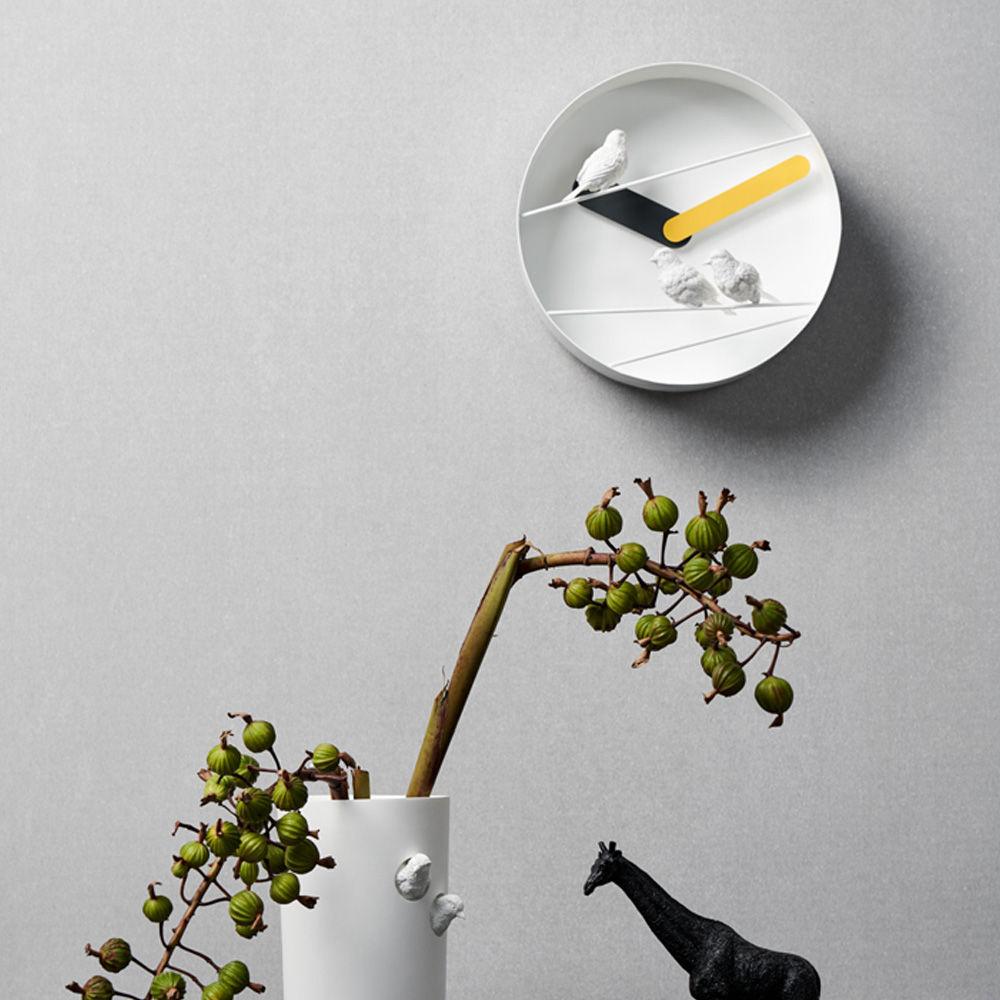 Yellow Sparrow Round Clock | Bombinate