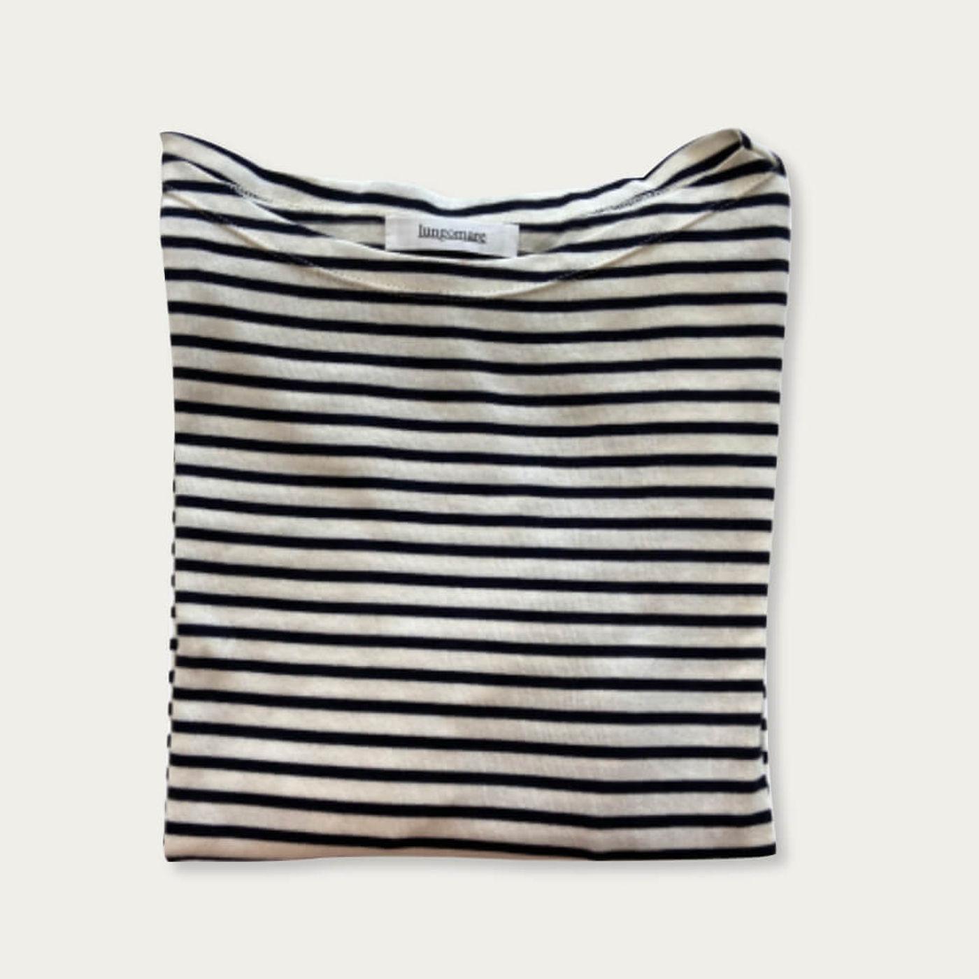Milk/Blue Gelsomina Cotton T-shirt | Bombinate