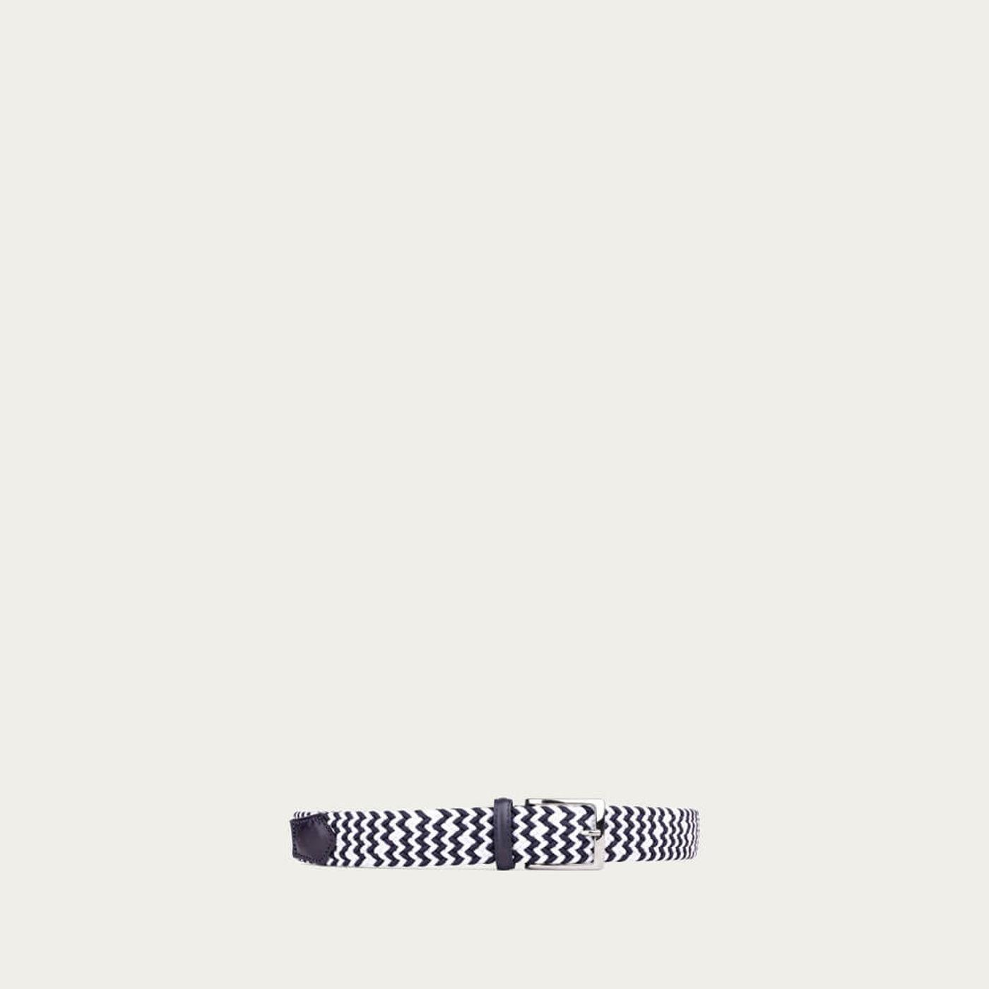 Blue/White Diego Elastic Viscose Belt | Bombinate