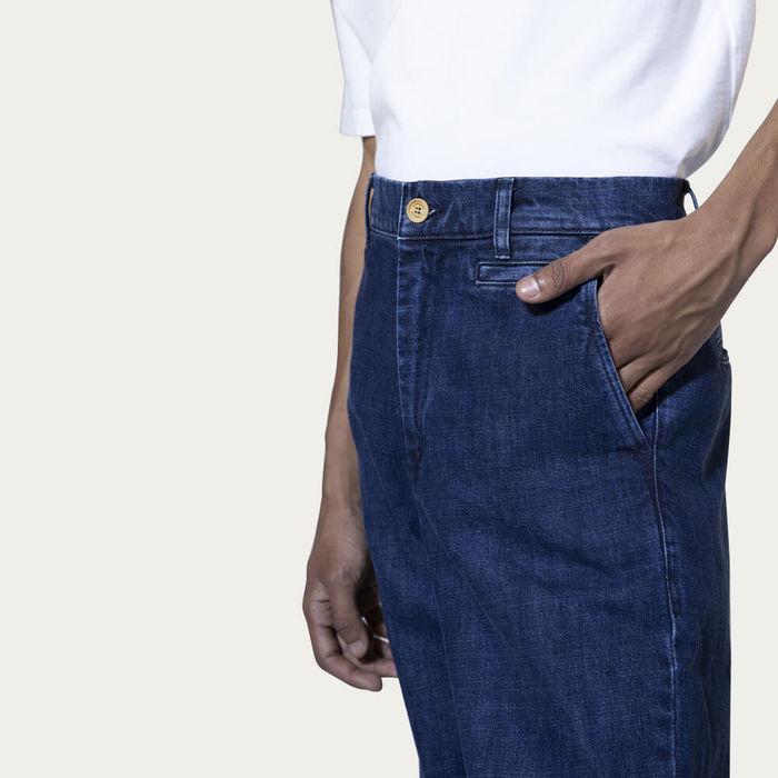 Indigo Denim Cotton High-Waist Jeans | Bombinate