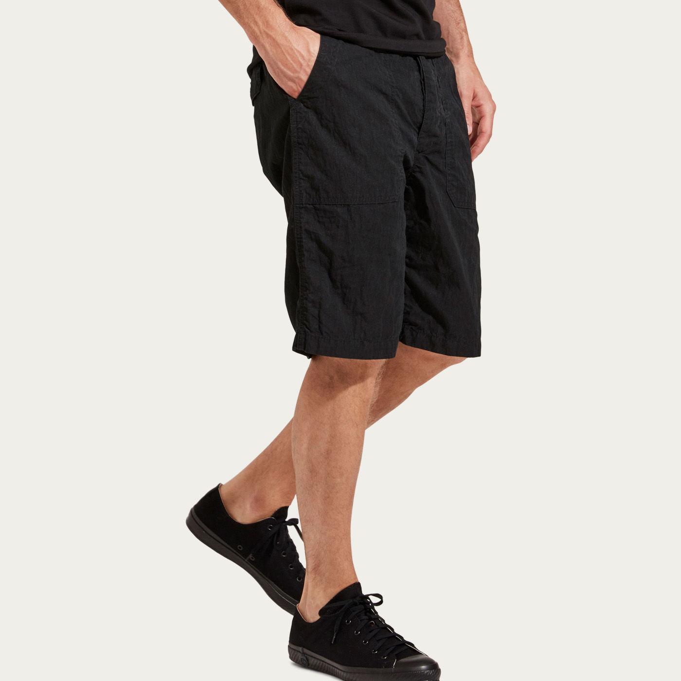 Washed Black Cotton/Nylon Shorts  | Bombinate