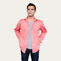 Salmon Pink Cotton Shirt Jacket  | Bombinate