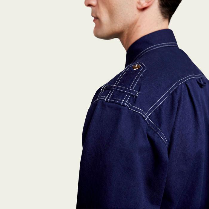 Bright Indigo Cotton Shirt Jacket  | Bombinate