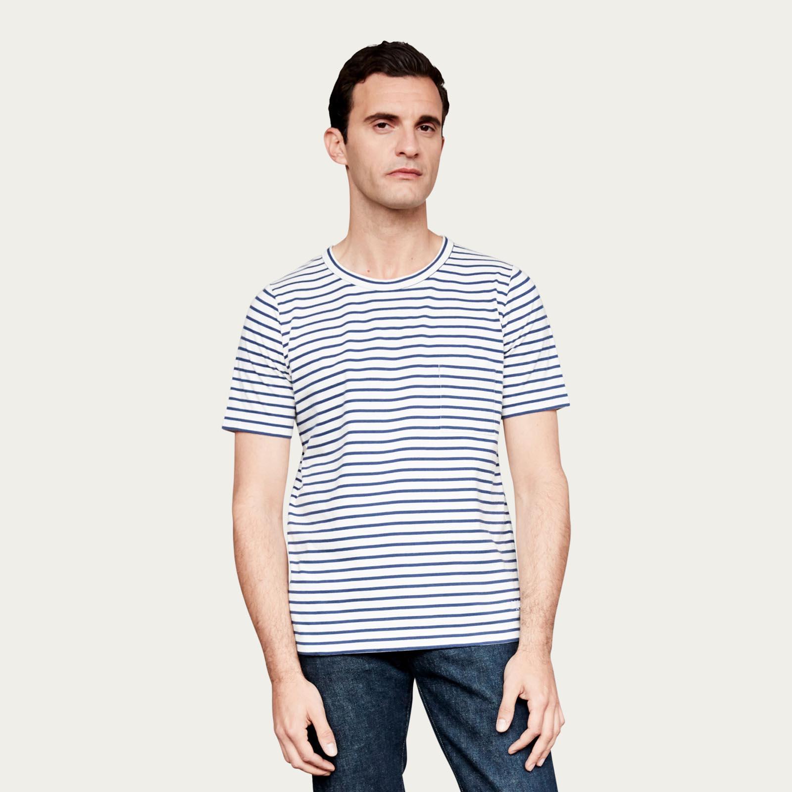 Navy and White Stripe Pocket Short Sleeve Tee  | Bombinate