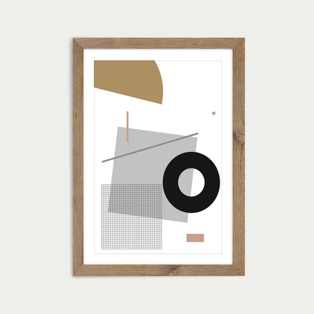 Minimal Geo 1 Art Print Oak Frame   Bombinate