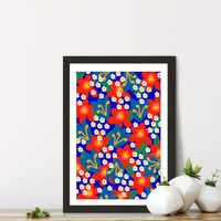 Red Flowers Art Print Black Frame | Bombinate