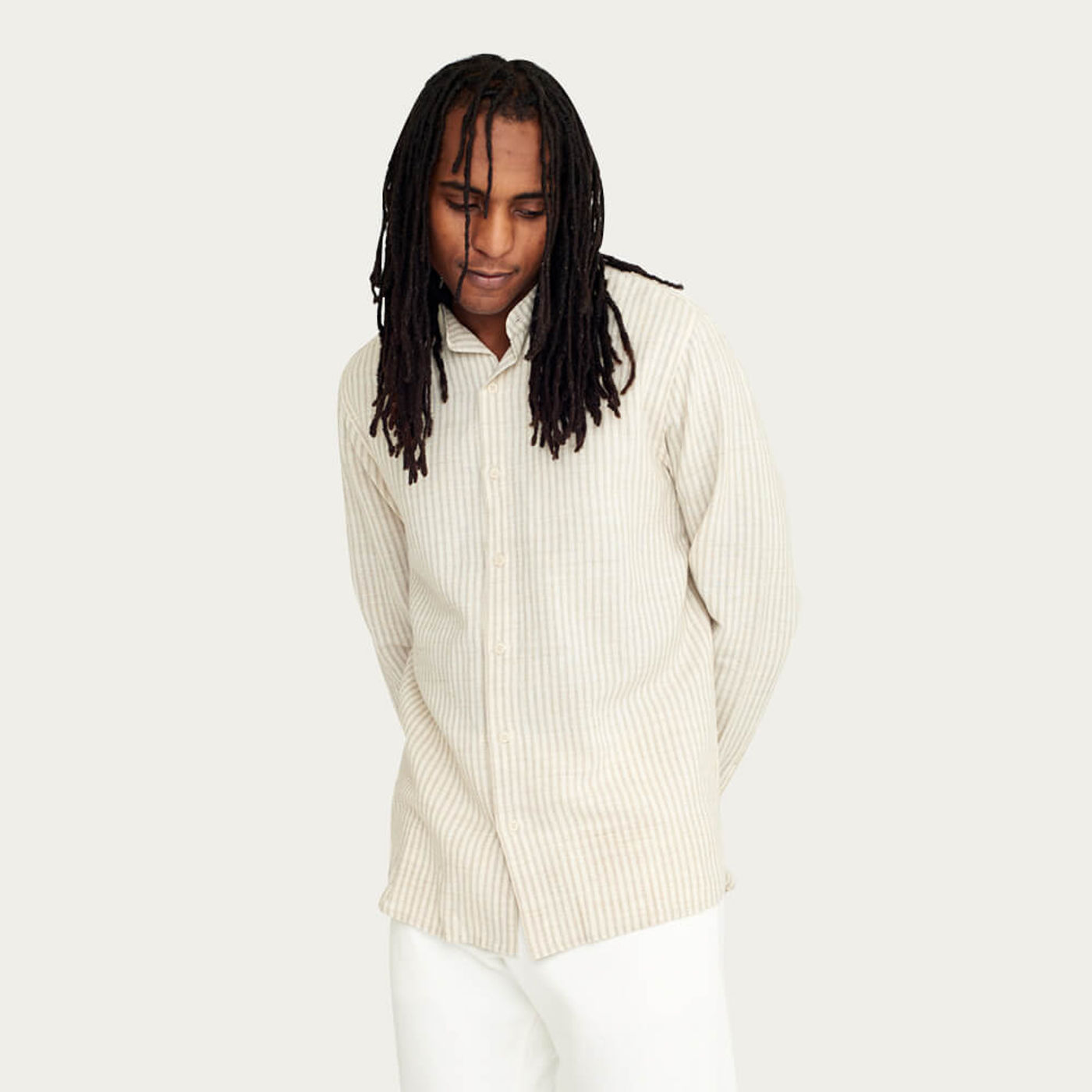 Natural Stripe Watchet Cotton Shirt   Bombinate