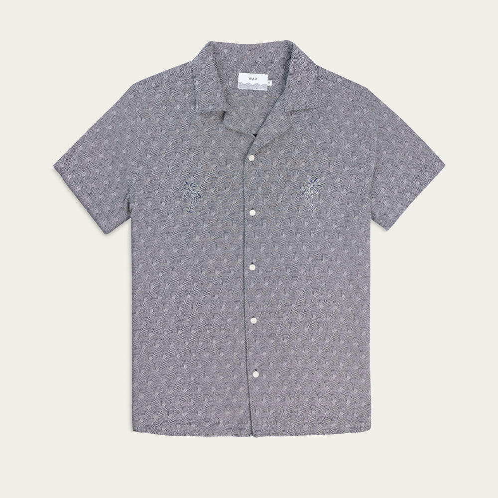 Navy/White Dotted Rainbow Navy Palm Didcot Casual Short Sleeve Shirt  | Bombinate