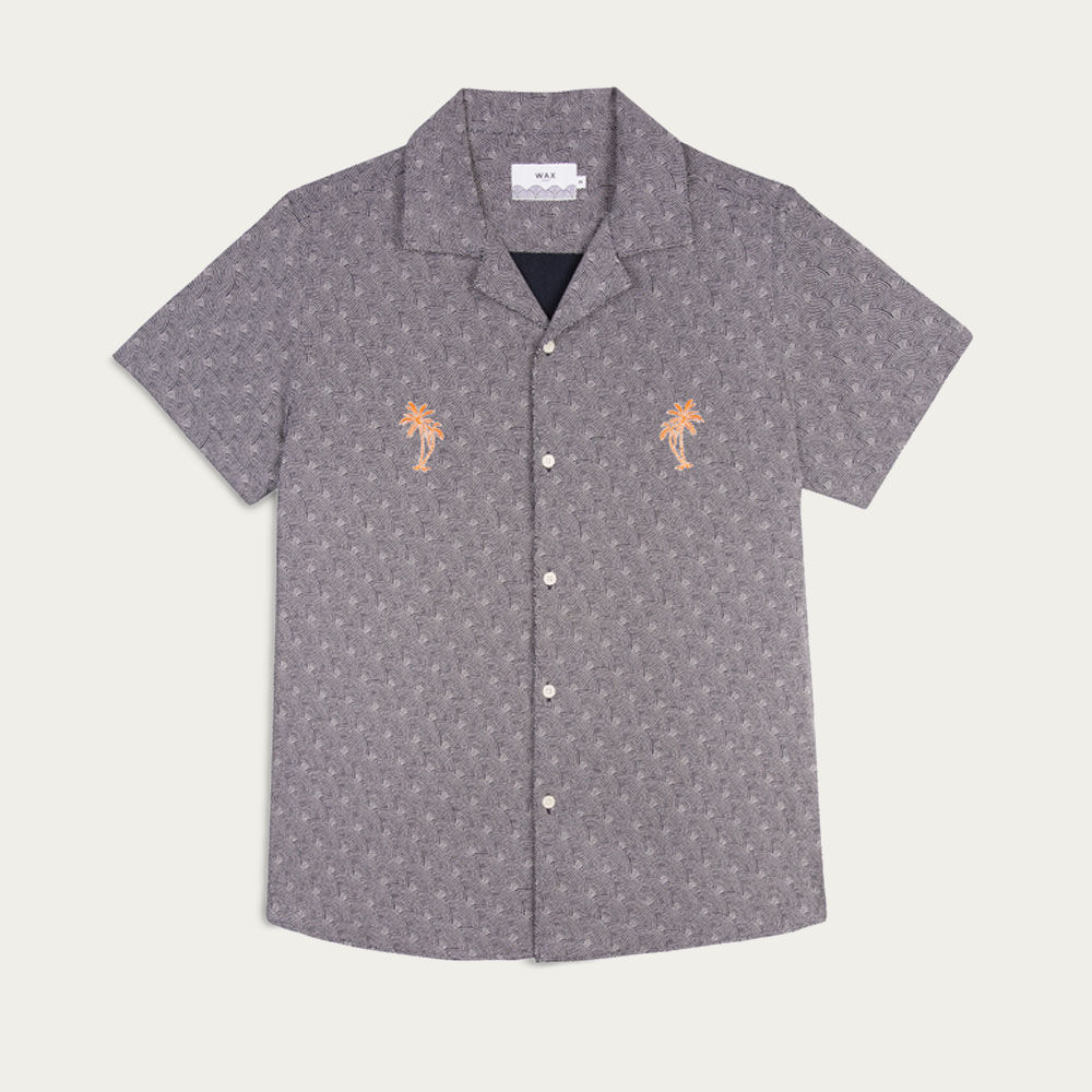 Navy/White Dotted Rainbow Orange Palm Didcot Casual Short Sleeve Shirt  | Bombinate