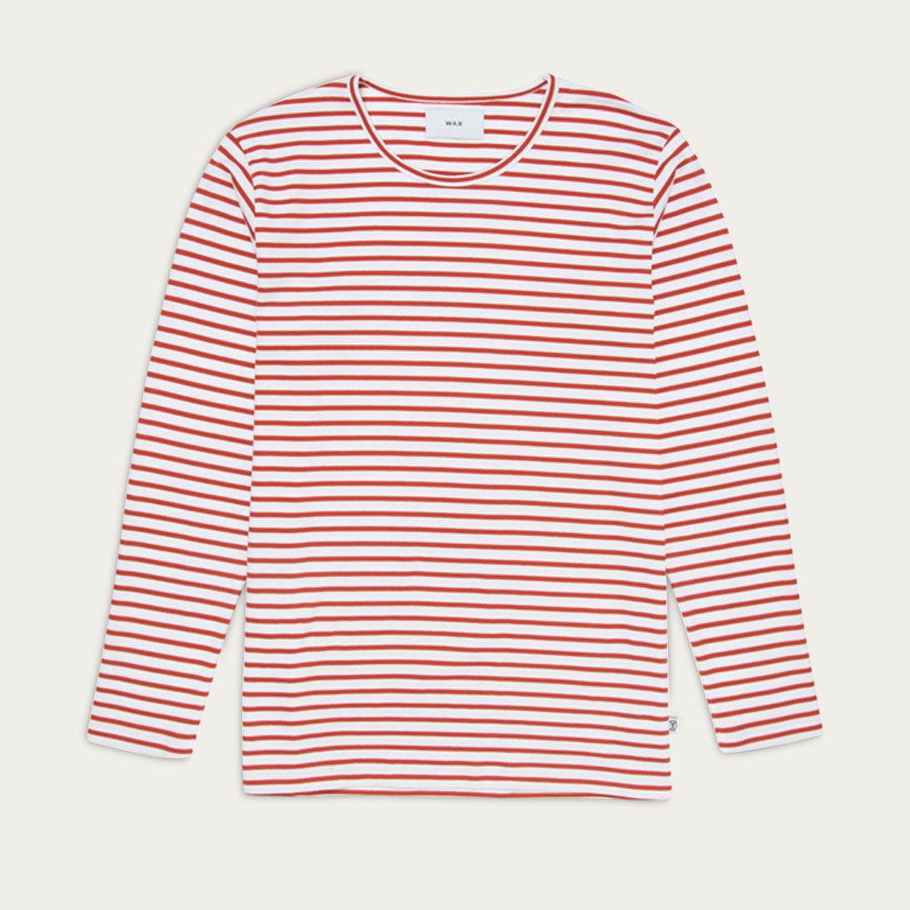 White/Orange Stripes Duval L/S T-shirt  | Bombinate