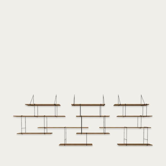 Walnut /Black LINK Set TRIO Shelf   Bombinate