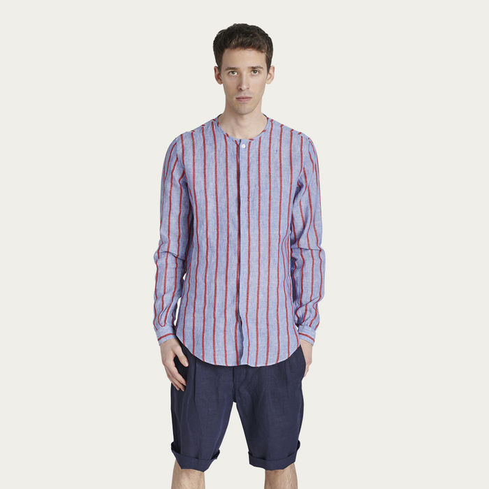 Blue with Red stripes Collarless Shirt  | Bombinate