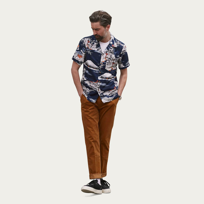 Navy Fuji Pagoda Cuban Short Sleeve Shirt | Bombinate