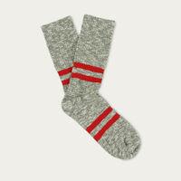 Khaki  Red Melange Stripes Socks | Bombinate