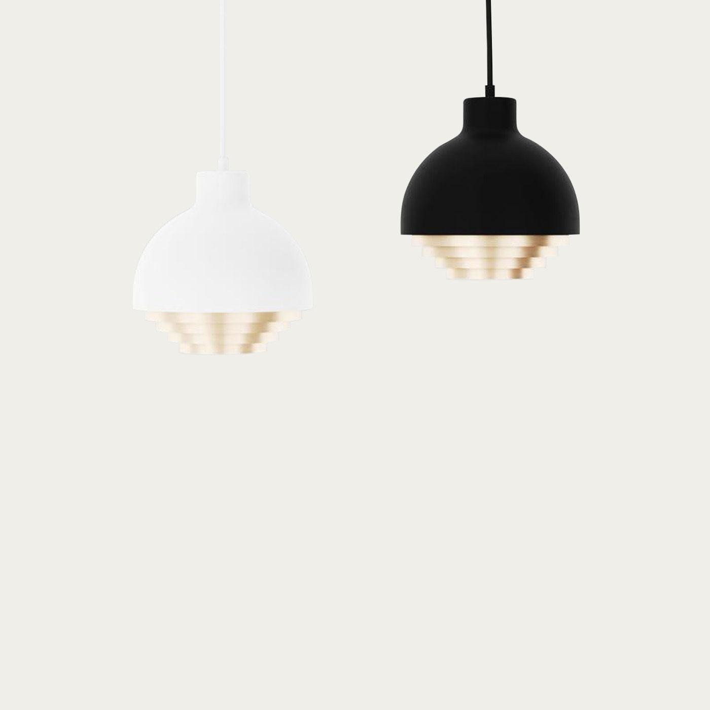 White & Brass Strata Pendant Light | Bombinate