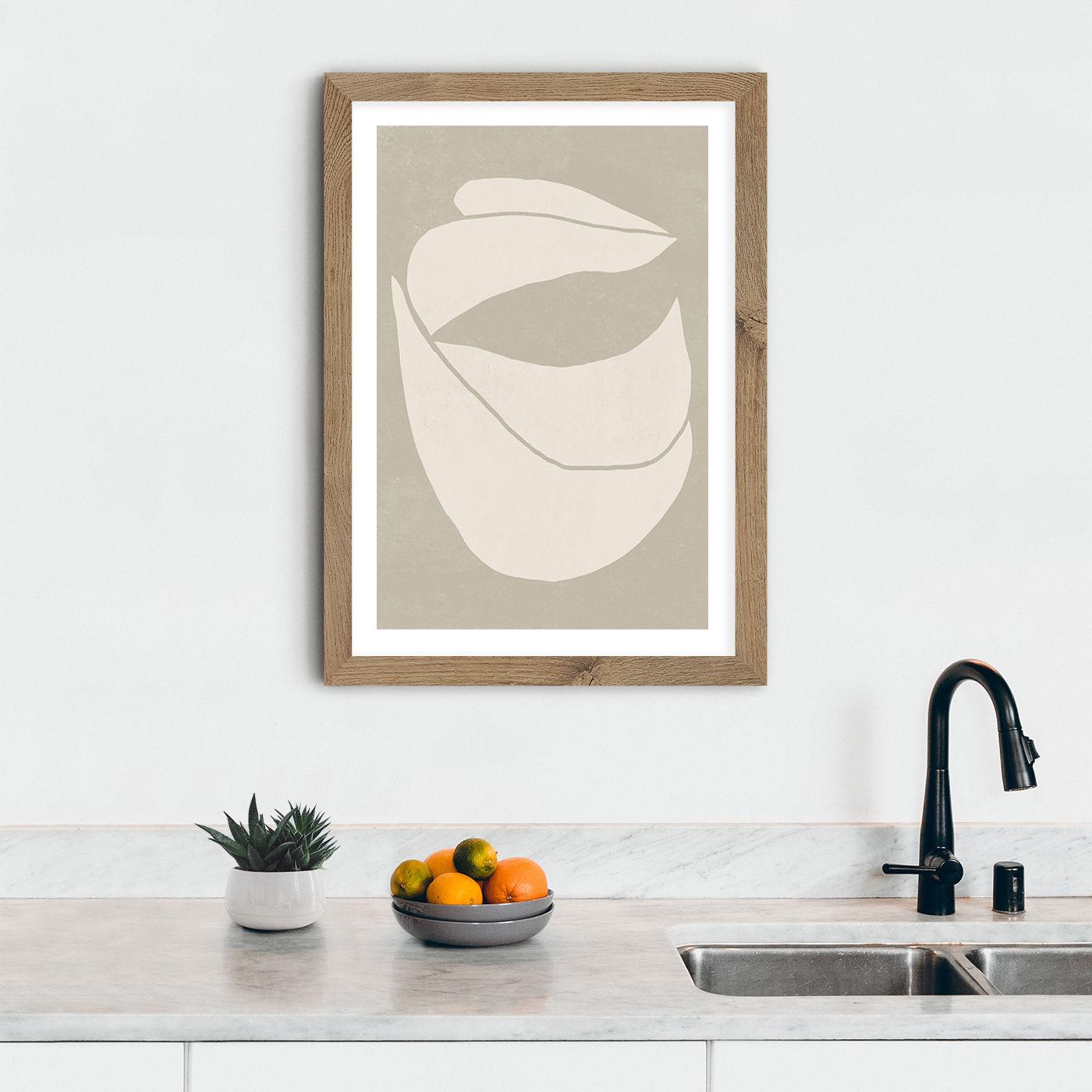 Twined 04 Sand Art Print Oak Frame | Bombinate