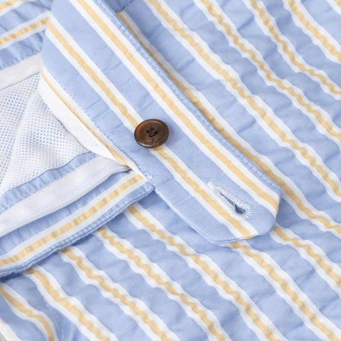 Sky Blue & Yellow Tailored Originals Swim Shorts | Bombinate