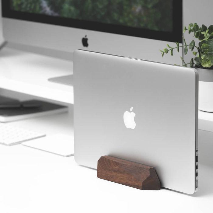 Walnut Laptop Dock - Vertical Stand | Bombinate