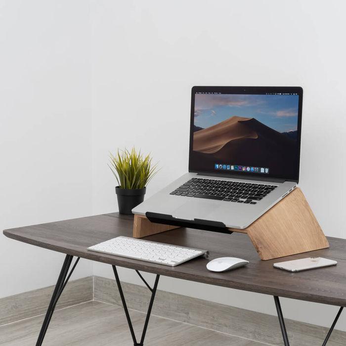 Oak Wooden Laptop Stand   Bombinate