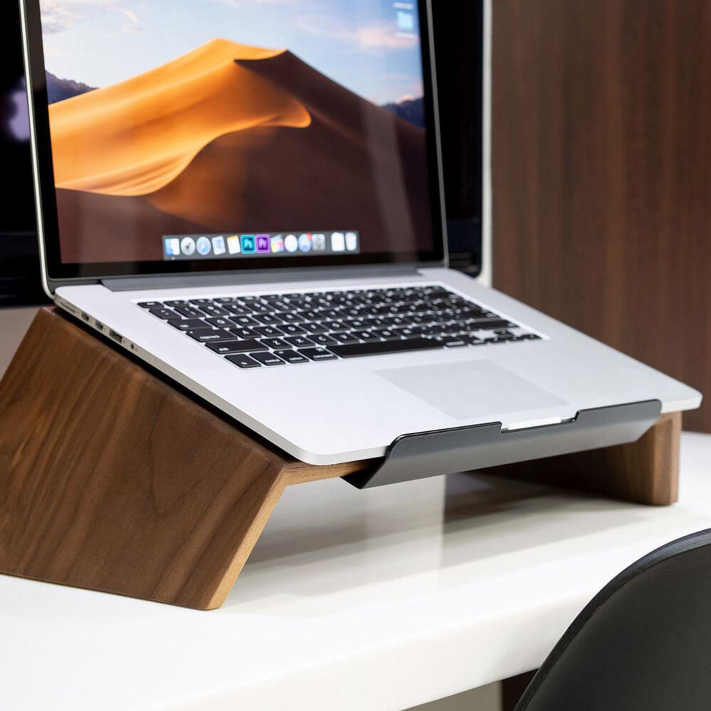 Walnut Wooden Laptop Stand | Bombinate