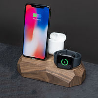 Walnut Triple Dock - iPhone, Apple Watch, AirPods Charger | Bombinate