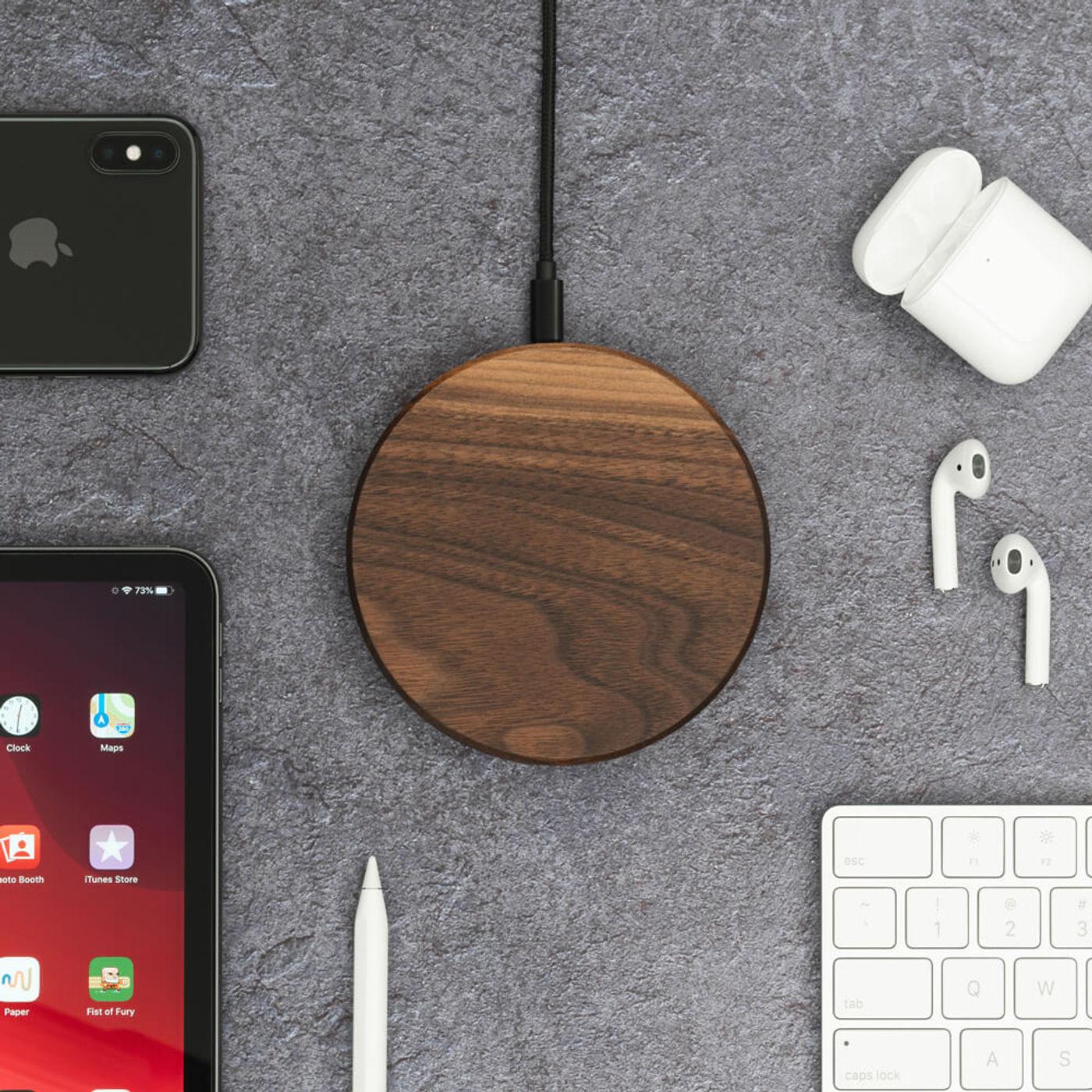Walnut Slim Wireless Charging Pad   Bombinate