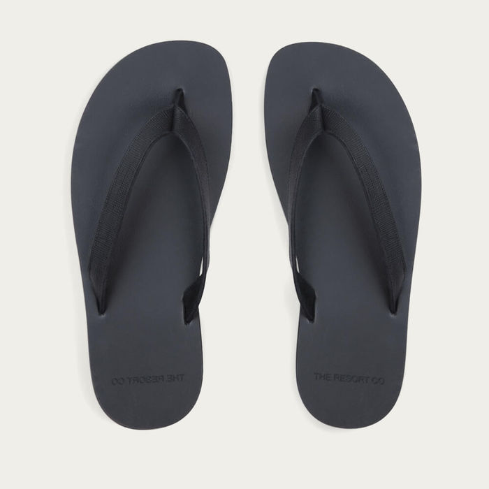Black Saffiano Leather Flip-Flops | Bombinate