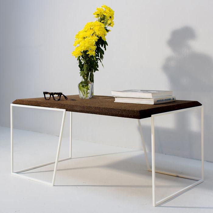 Dark Cork And White Legs Grão #1 Center Table | Bombinate