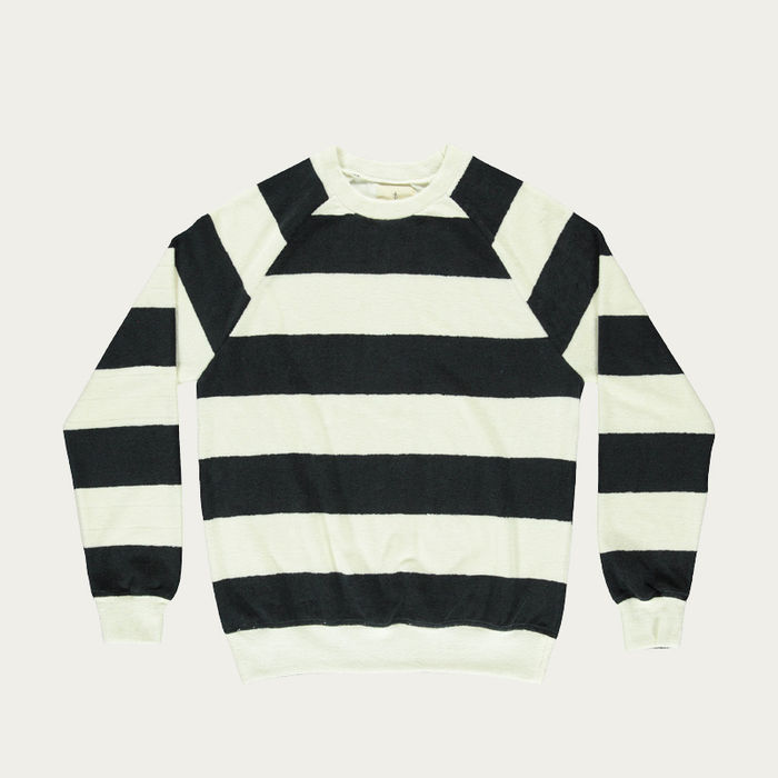 Navy Stripes Terry Towel Cunha Sweatshirt  | Bombinate