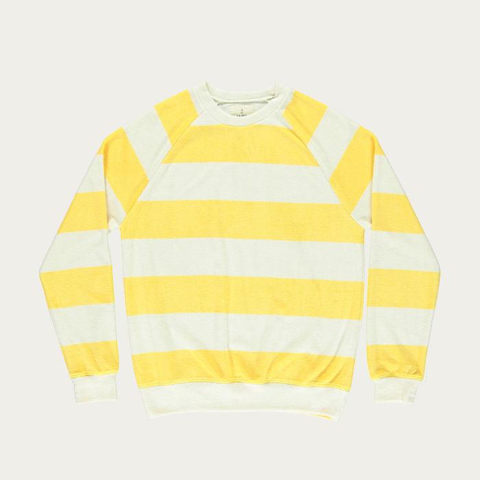 Yellow Stripes Terry Towel Cunha Sweatshirt | Bombinate