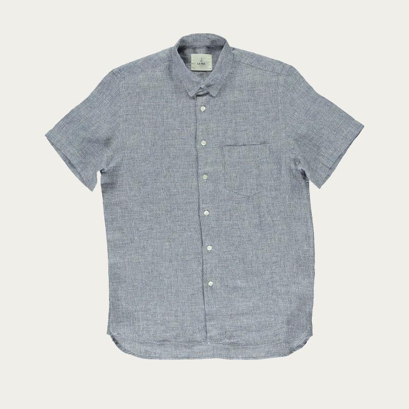 Blue Micro Squares Ribeiro Shirt  | Bombinate