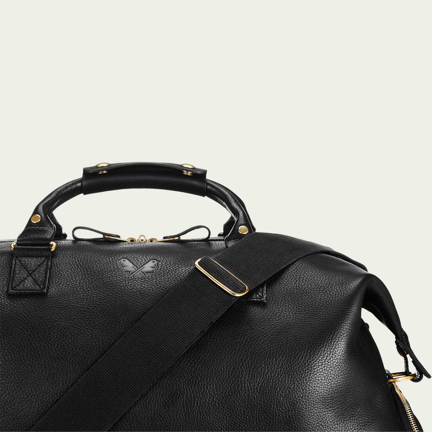 Black Full Grain Leather Weekender   Bombinate