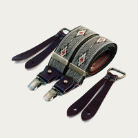 Aztec Pattern Selvedge Wide Braces with Buffalo Leather   Bombinate