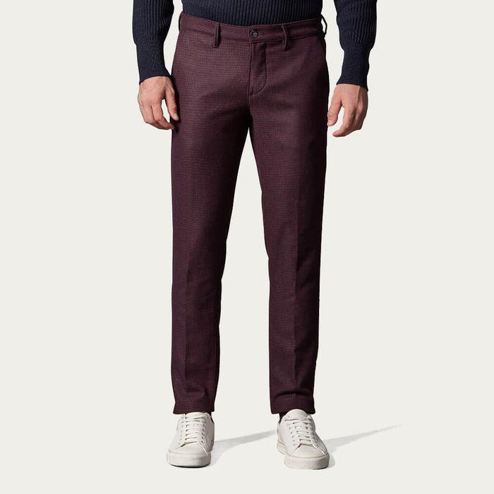 Burgundy New Town Trousers in Pied-de-Poule in Wool | Bombinate