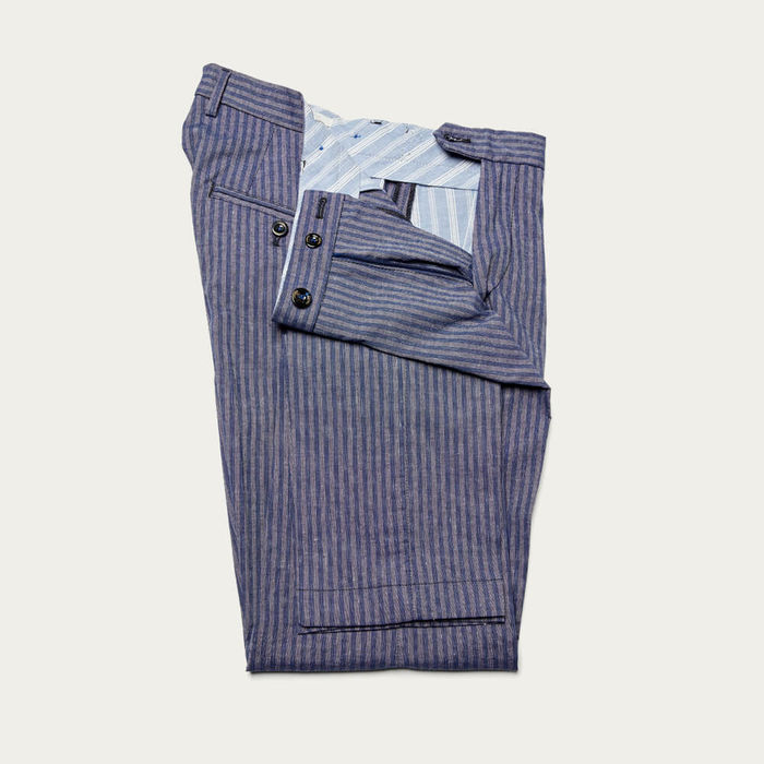 Navy Raval Trousers in Linen and Cotton | Bombinate