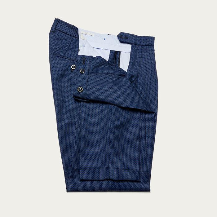 Navy Raval Trousers in 100% Fresh Wool | Bombinate