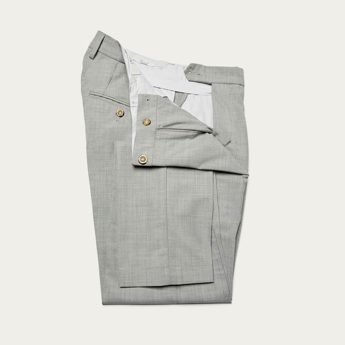 Light Grey Raval Trousers in Fresh Wool | Bombinate