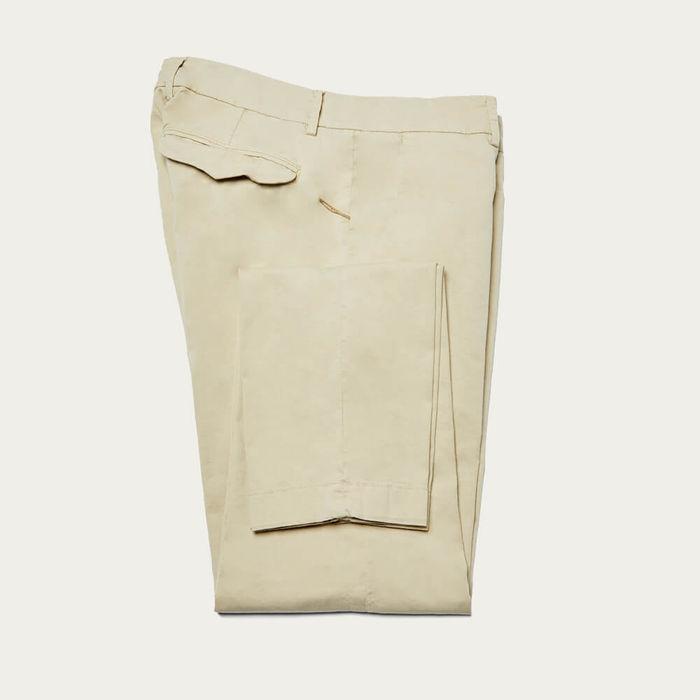 Ecru Cotton Marais Trousers | Bombinate